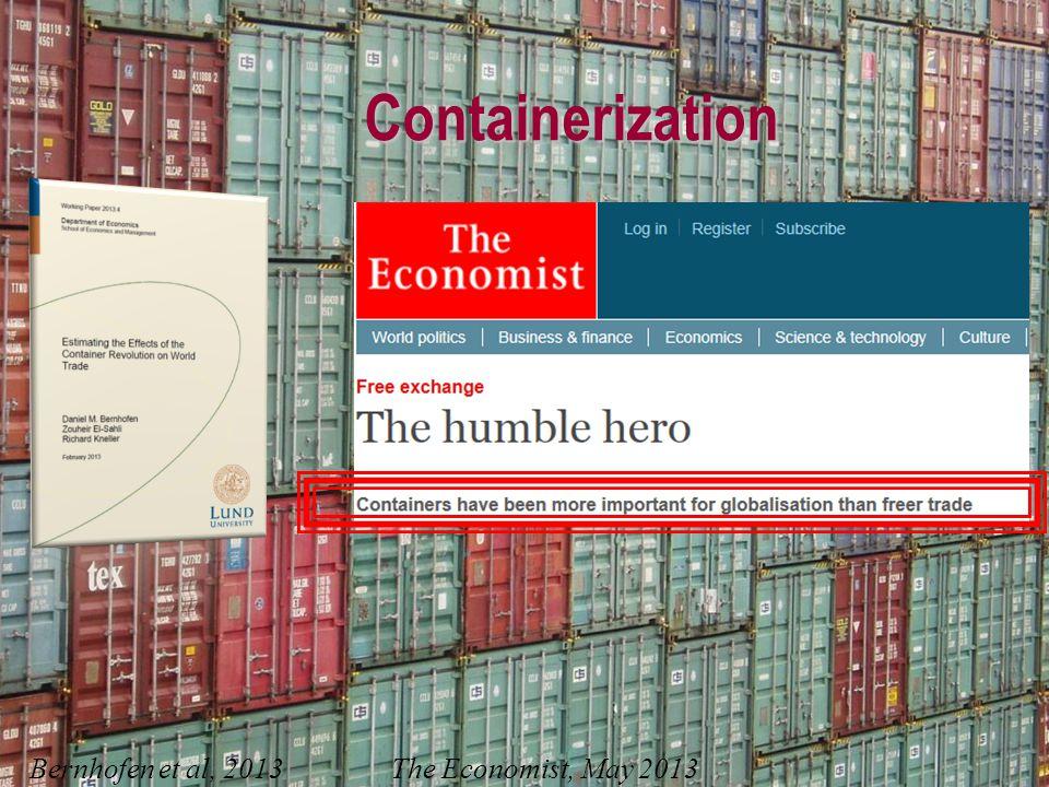 Containerization Bernhofen et al, 2013 The Economist, May 2013