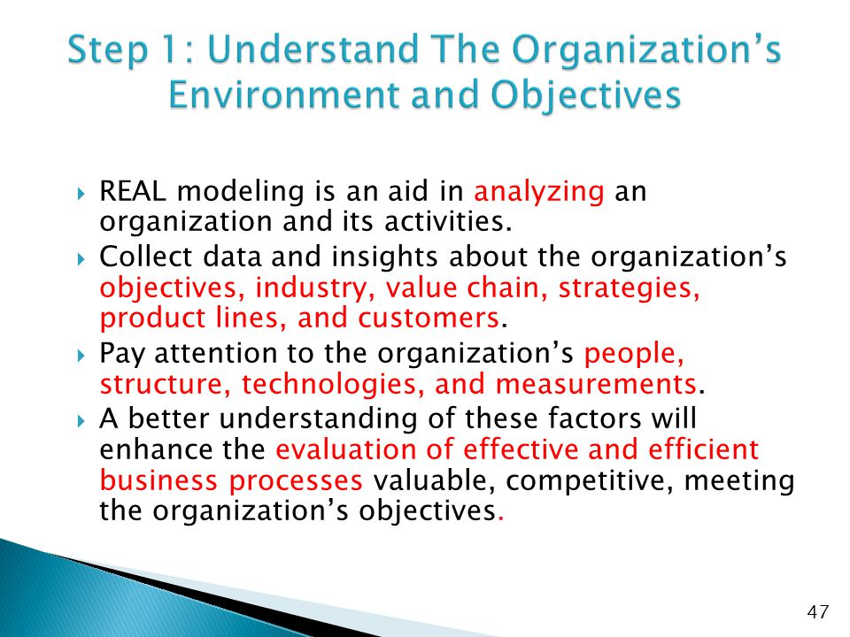  REAL modeling is an aid in analyzing an organization and its activities.