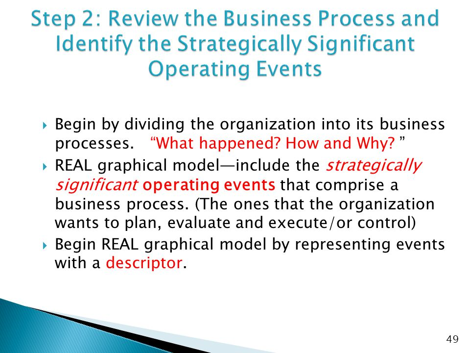  Begin by dividing the organization into its business processes.