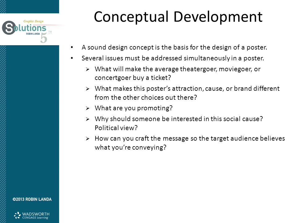 Conceptual Development A sound design concept is the basis for the design of a poster.