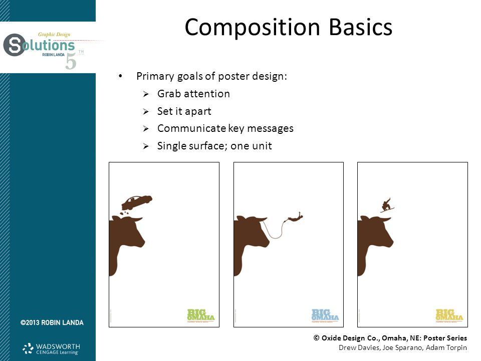 Composition Basics Primary goals of poster design:  Grab attention  Set it apart  Communicate key messages  Single surface; one unit © Oxide Design Co., Omaha, NE: Poster Series Drew Davies, Joe Sparano, Adam Torpin