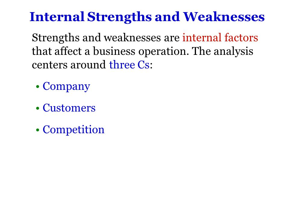 Internal Strengths and Weaknesses When evaluating itself, a company must analyze these areas: Staff Financial situation Production capabilities The Four P's (which are?...) Product, Price, Place, Promotion