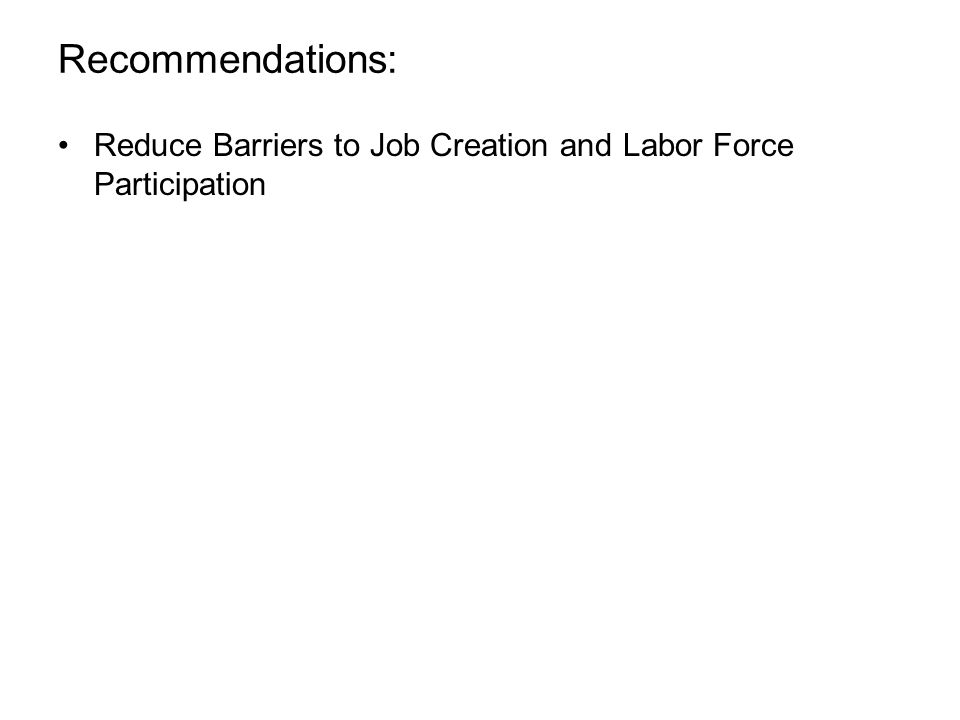 Reduce Barriers to Job Creation and Labor Force Participation