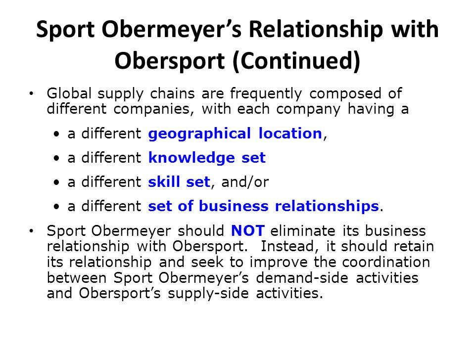 Sport Obermeyer's Relationship with Obersport (Continued) Global supply chains are frequently composed of different companies, with each company havin