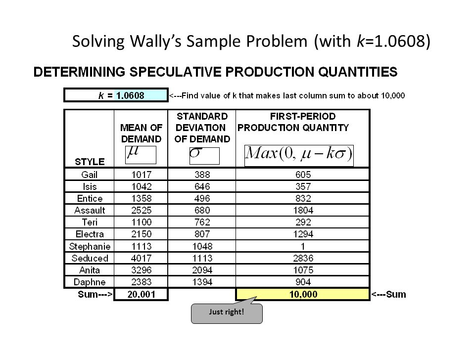 Solving Wally's Sample Problem (with k=1.0608) Just right!
