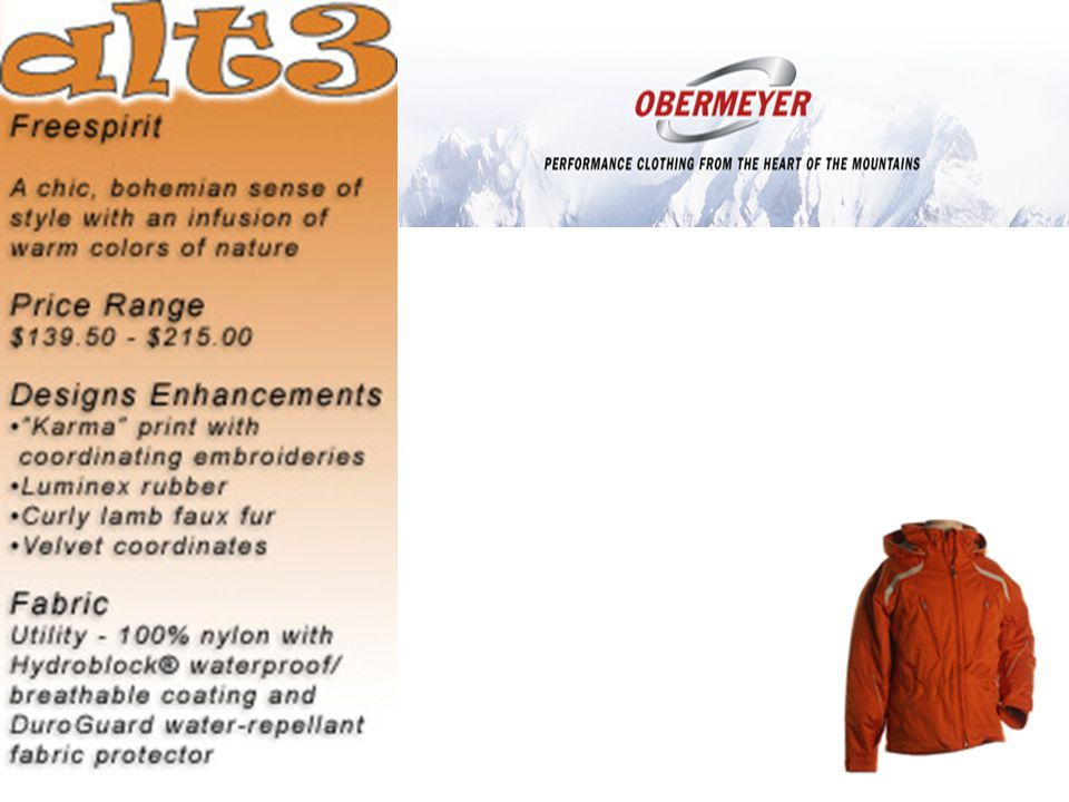 Obermeyer Product Example (Adult man) – Fred (conservative, basic) – Rex (rich, latest fabrics and technologies) – Beige (mountaineering type skier, high technical performance) – Klausie (showy, latest fashions) Each Gender – Styles – Colors – Sizes Total Number of SKU's (stock-keeping units): ~800 Deliver matching collections simultaneously Deliver early in the season