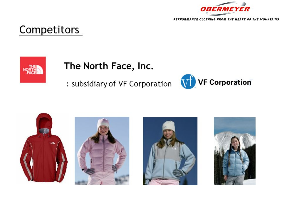 The Supply Chain Textile and Accessories Suppliers Apparel Manufacturers Sport Obermeyer Retailers Obersport Produce, dye and print shell and lining fabrics, supply insulation, zippers, thread, logo patches and snaps.