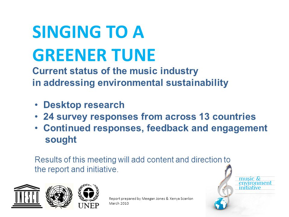 Partnering of music and environment is in evidence across many nations, however… Established programmes, research, resources, solutions providers, and actual greening activities undertaken, are clustered in UK, Europe, North America and Australia.