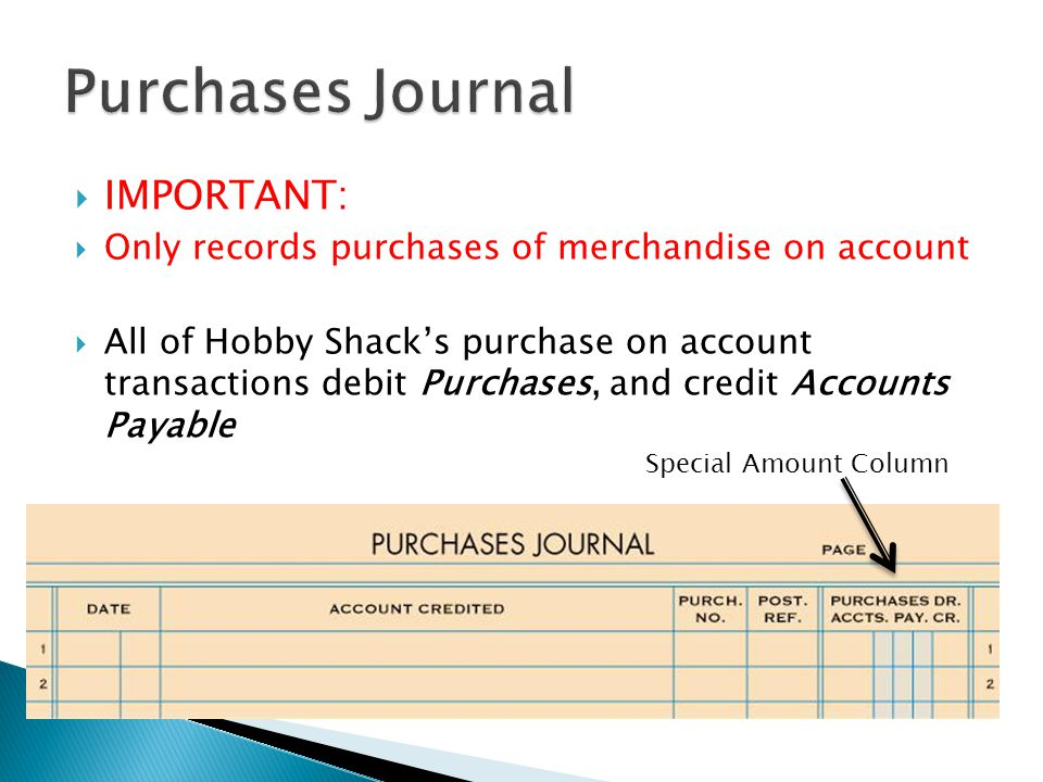  IMPORTANT:  Only records purchases of merchandise on account  All of Hobby Shack's purchase on account transactions debit Purchases, and credit Accounts Payable Special Amount Column