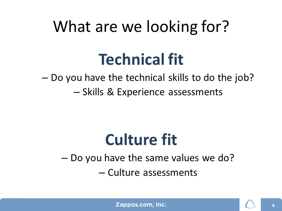 What are we looking for. Technical fit – Do you have the technical skills to do the job.