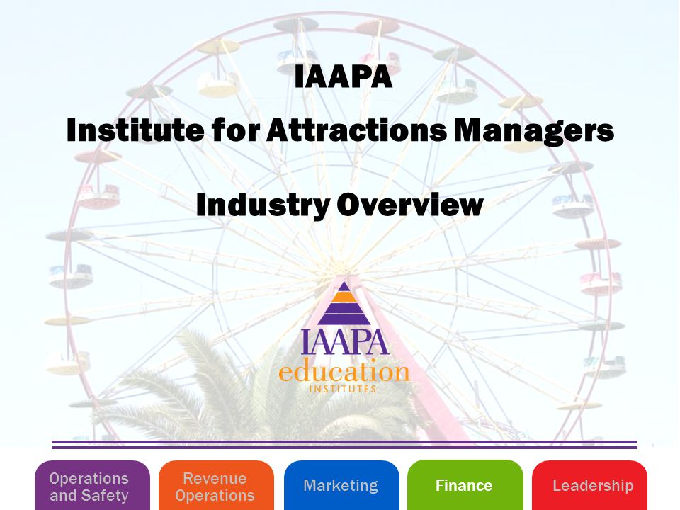 Industry Overview Institute for Attractions Managers IAAPA Operations and Safety MarketingLeadershipFinance Revenue Operations
