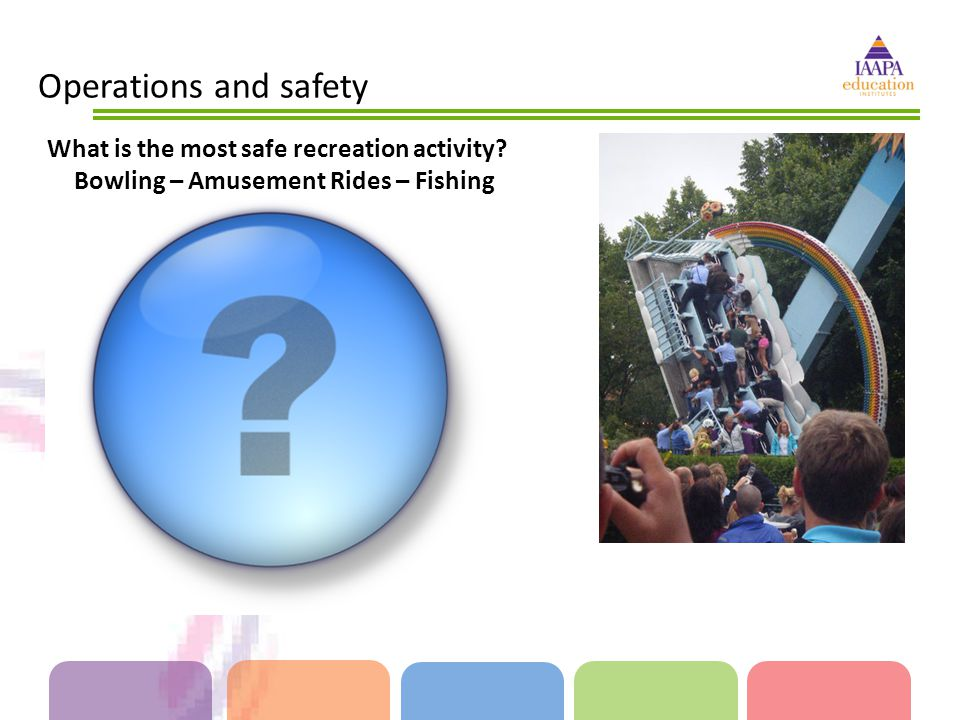 Operations and safety What is the most safe recreation activity? Bowling – Amusement Rides – Fishing