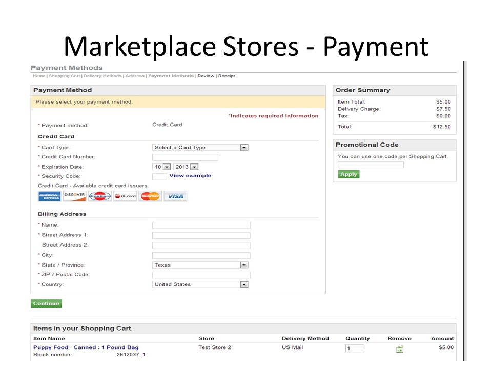 Marketplace Stores - Payment