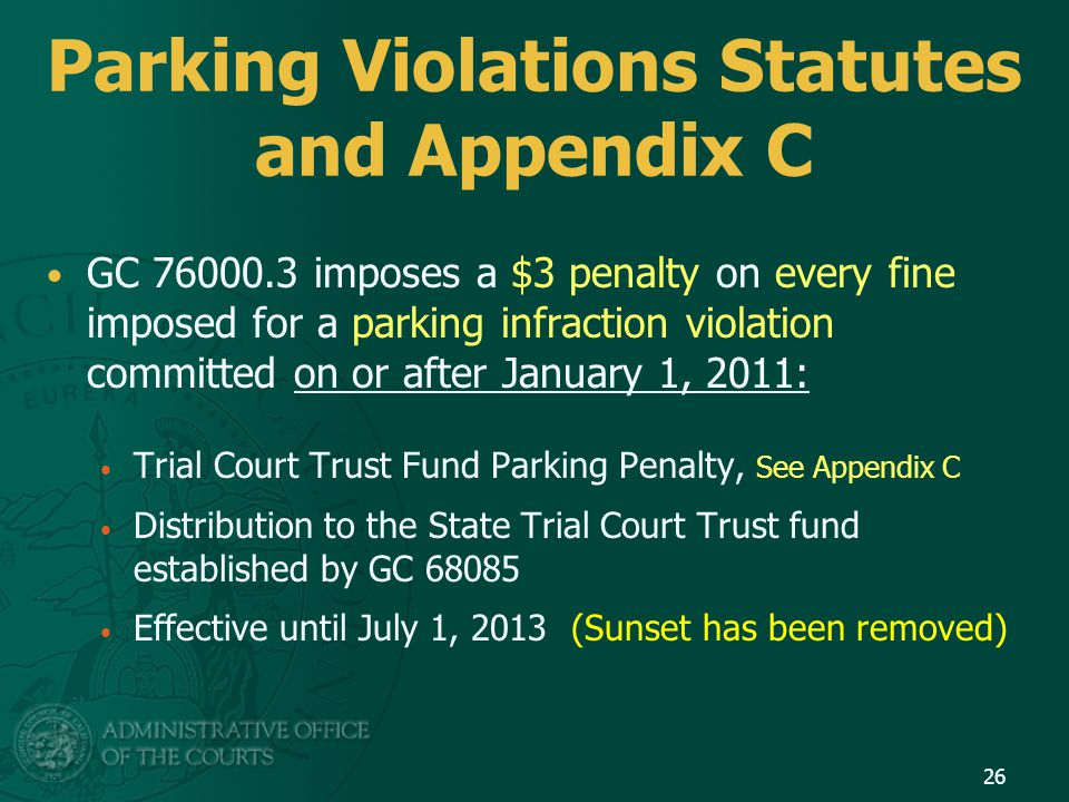 Parking Violations Statutes and Appendix C GC 76000.3 imposes a $3 penalty on every fine imposed for a parking infraction violation committed on or af