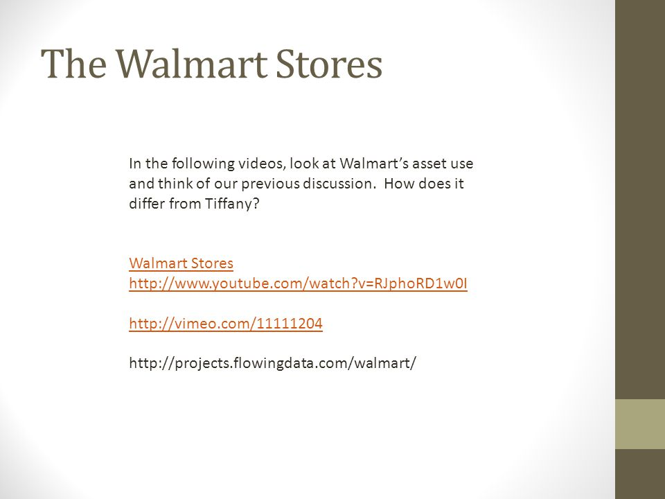 The Walmart Stores In the following videos, look at Walmart's asset use and think of our previous discussion. How does it differ from Tiffany? Walmart