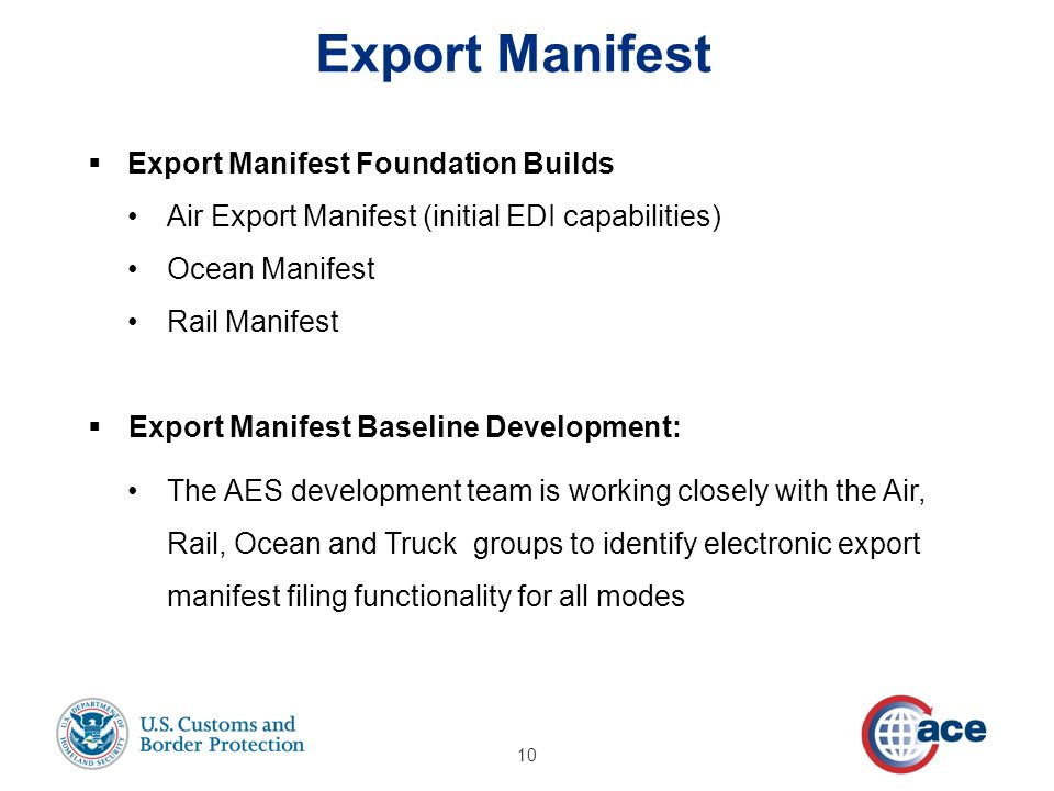  Export Manifest Foundation Builds Air Export Manifest (initial EDI capabilities) Ocean Manifest Rail Manifest  Export Manifest Baseline Development