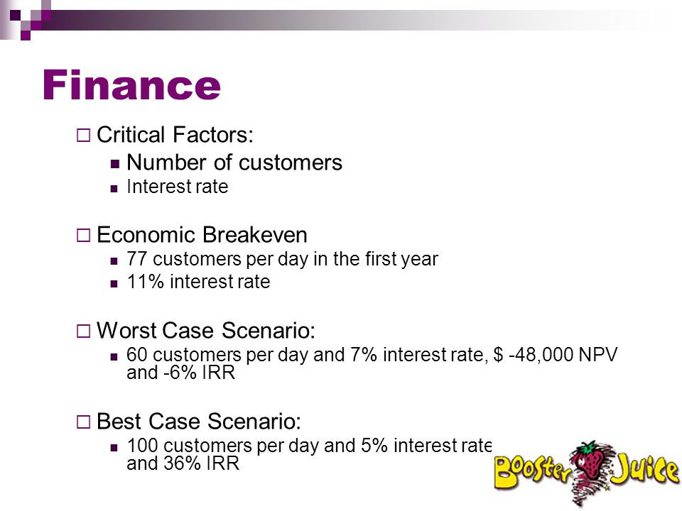 Finance  Critical Factors: Number of customers Interest rate  Economic Breakeven 77 customers per day in the first year 11% interest rate  Worst Ca