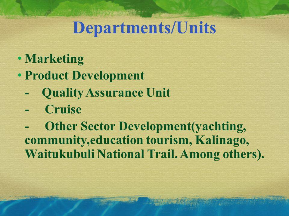 Departments/Units Marketing Product Development - Quality Assurance Unit - Cruise - Other Sector Development(yachting, community,education tourism, Kalinago, Waitukubuli National Trail.