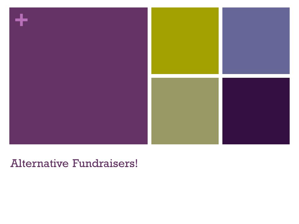 + Alternative Fundraisers!