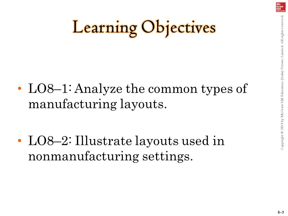 8–3 Copyright © 2014 by McGraw Hill Education (India) Private Limited.