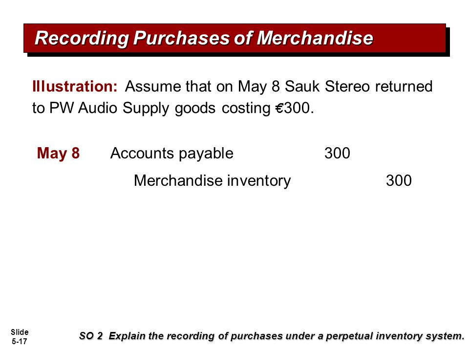 Slide 5-17 Recording Purchases of Merchandise SO 2 Explain the recording of purchases under a perpetual inventory system. Illustration: Assume that on