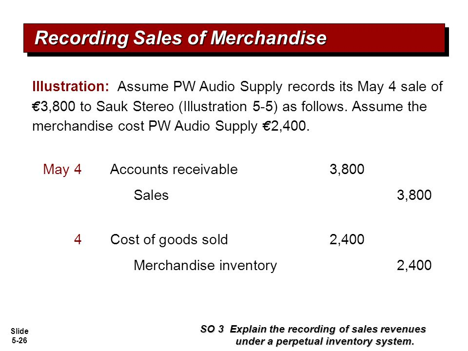 Slide 5-26 Recording Sales of Merchandise SO 3 Explain the recording of sales revenues under a perpetual inventory system. Accounts receivable3,800May