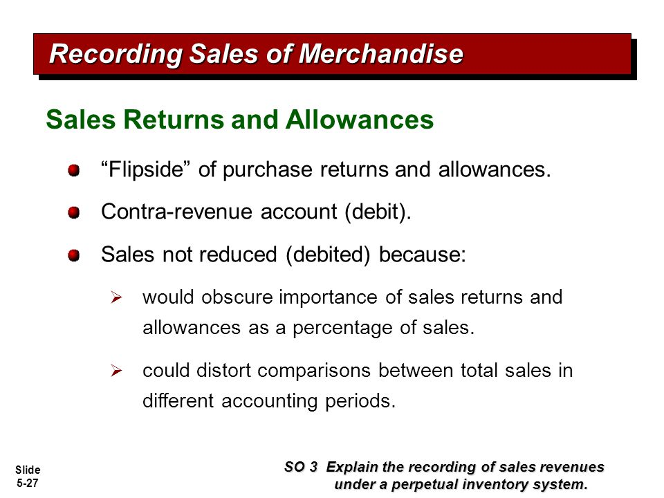 "Slide 5-27 ""Flipside"" of purchase returns and allowances. Contra-revenue account (debit). Sales not reduced (debited) because:  would obscure importa"