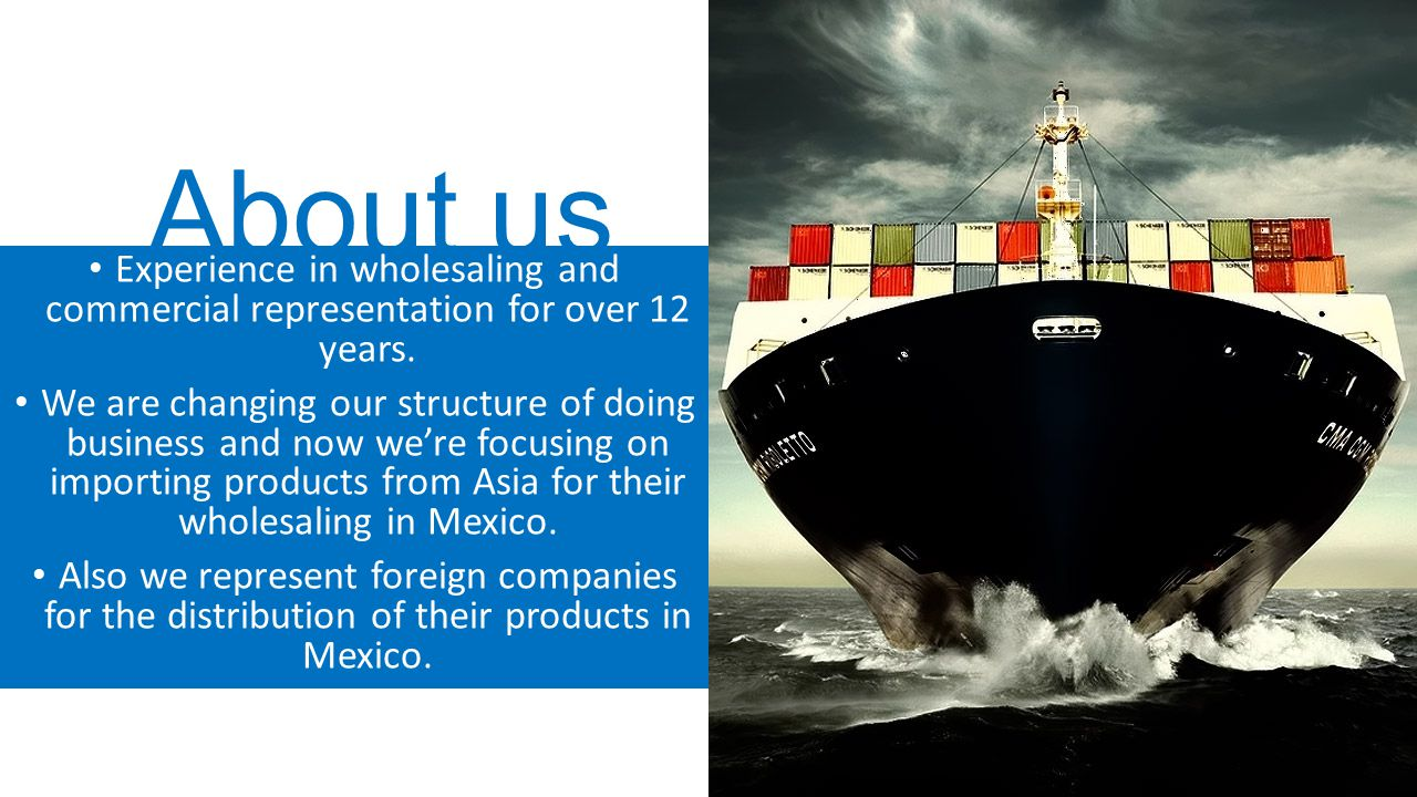 About us Experience in wholesaling and commercial representation for over 12 years.