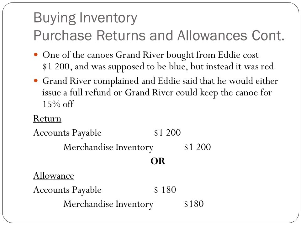 Buying Inventory Purchase Returns and Allowances Cont. One of the canoes Grand River bought from Eddie cost $1 200, and was supposed to be blue, but i