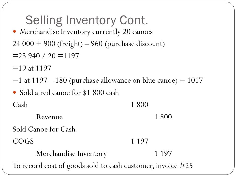 Selling Inventory Cont. Merchandise Inventory currently 20 canoes 24 000 + 900 (freight) – 960 (purchase discount) =23 940 / 20 =1197 =19 at 1197 =1 a