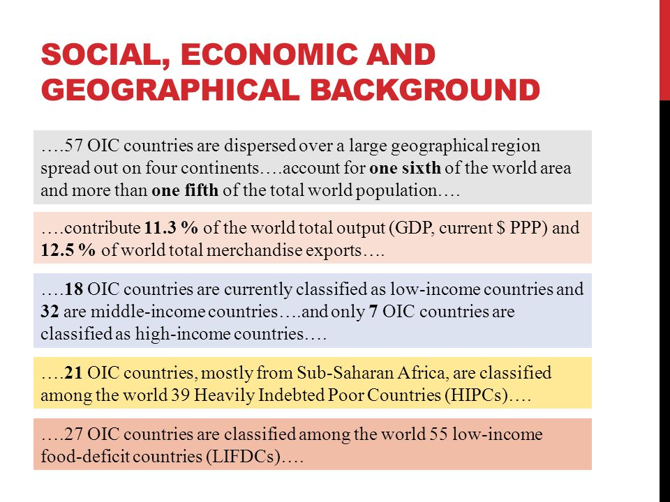 SOCIAL, ECONOMIC AND GEOGRAPHICAL BACKGROUND ….57 OIC countries are dispersed over a large geographical region spread out on four continents….account