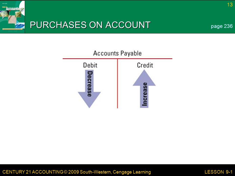 CENTURY 21 ACCOUNTING © 2009 South-Western, Cengage Learning 13 LESSON 9-1 PURCHASES ON ACCOUNT page 236