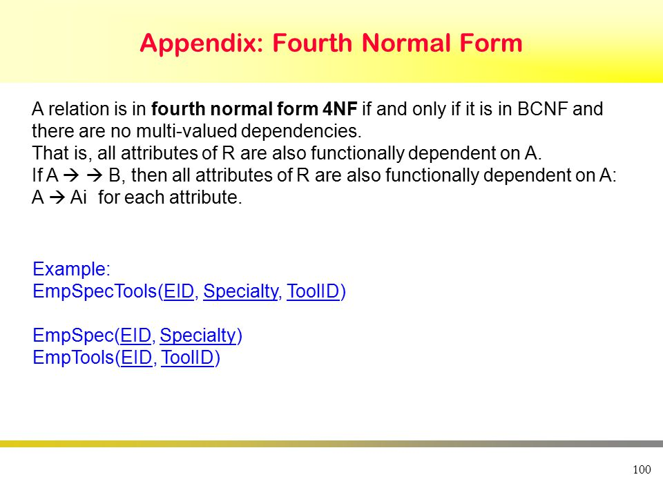 100 Appendix: Fourth Normal Form A relation is in fourth normal form 4NF if and only if it is in BCNF and there are no multi-valued dependencies.