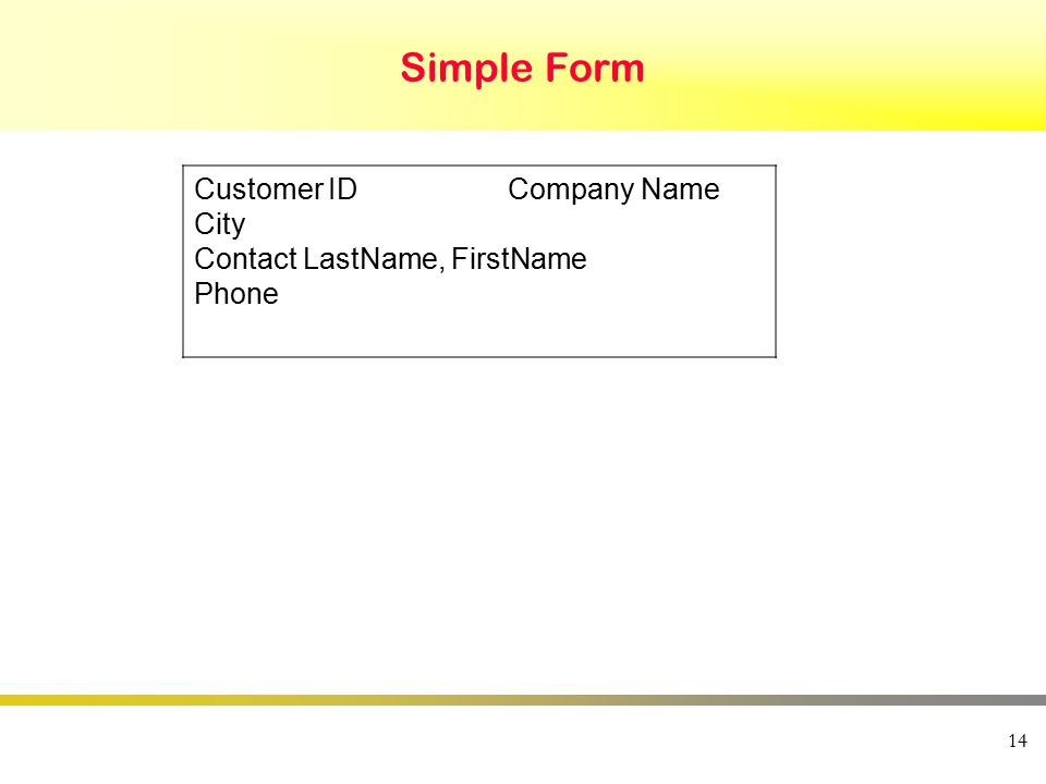 14 Simple Form Customer IDCompany Name City Contact LastName, FirstName Phone