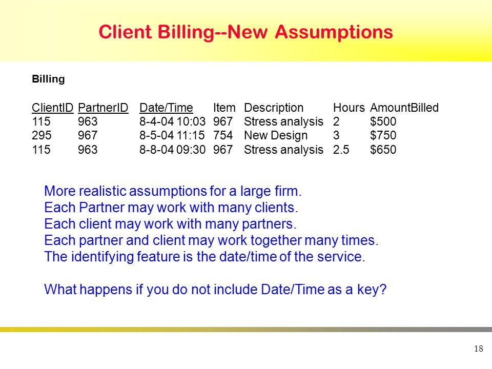 18 Client Billing--New Assumptions ClientIDPartnerIDDate/TimeItemDescriptionHoursAmountBilled 1159638-4-04 10:03967Stress analysis2$500 2959678-5-04 1
