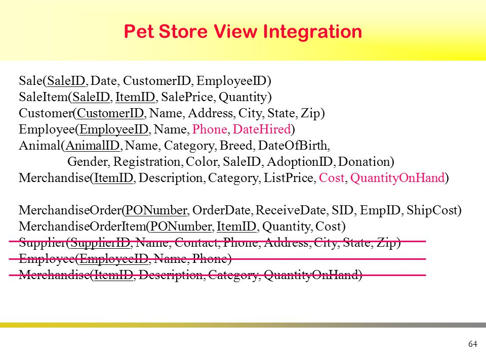 Pet Store View Integration 64 Sale(SaleID, Date, CustomerID, EmployeeID) SaleItem(SaleID, ItemID, SalePrice, Quantity) Customer(CustomerID, Name, Address, City, State, Zip) Employee(EmployeeID, Name, Phone, DateHired) Animal(AnimalID, Name, Category, Breed, DateOfBirth, Gender, Registration, Color, SaleID, AdoptionID, Donation) Merchandise(ItemID, Description, Category, ListPrice, Cost, QuantityOnHand) MerchandiseOrder(PONumber, OrderDate, ReceiveDate, SID, EmpID, ShipCost) MerchandiseOrderItem(PONumber, ItemID, Quantity, Cost) Supplier(SupplierID, Name, Contact, Phone, Address, City, State, Zip) Employee(EmployeeID, Name, Phone) Merchandise(ItemID, Description, Category, QuantityOnHand)
