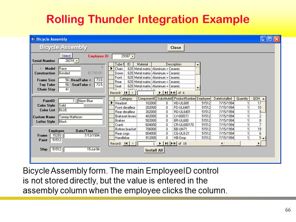 66 Rolling Thunder Integration Example Bicycle Assembly form. The main EmployeeID control is not stored directly, but the value is entered in the asse