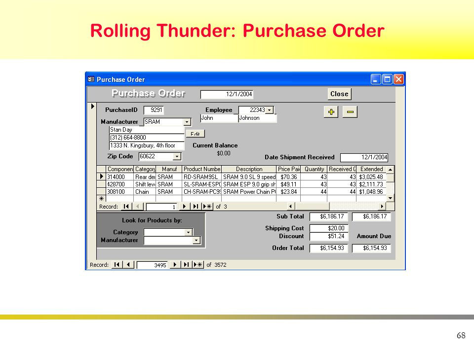 68 Rolling Thunder: Purchase Order