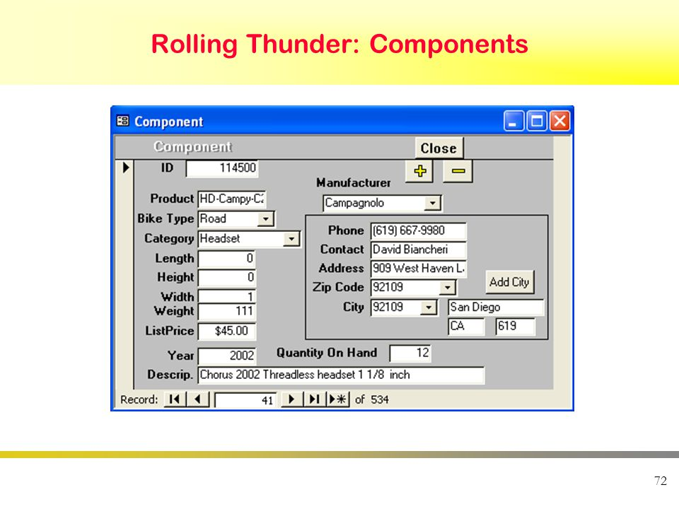 72 Rolling Thunder: Components