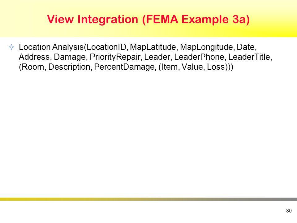 View Integration (FEMA Example 3a)  Location Analysis(LocationID, MapLatitude, MapLongitude, Date, Address, Damage, PriorityRepair, Leader, LeaderPho