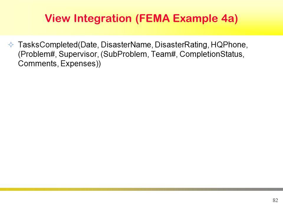 View Integration (FEMA Example 4a)  TasksCompleted(Date, DisasterName, DisasterRating, HQPhone, (Problem#, Supervisor, (SubProblem, Team#, Completion