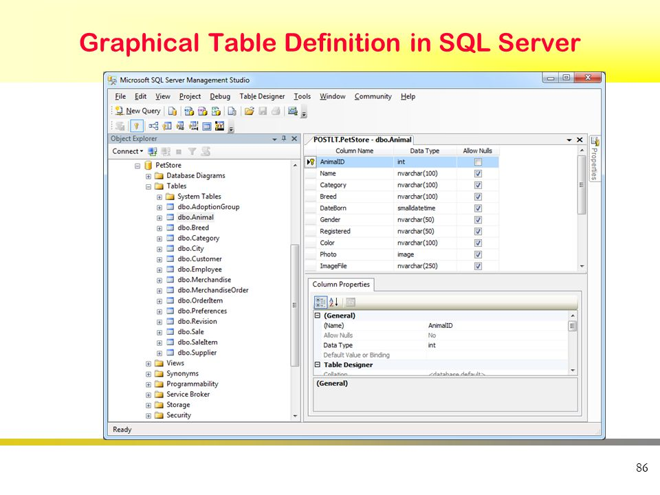 Graphical Table Definition in SQL Server 86