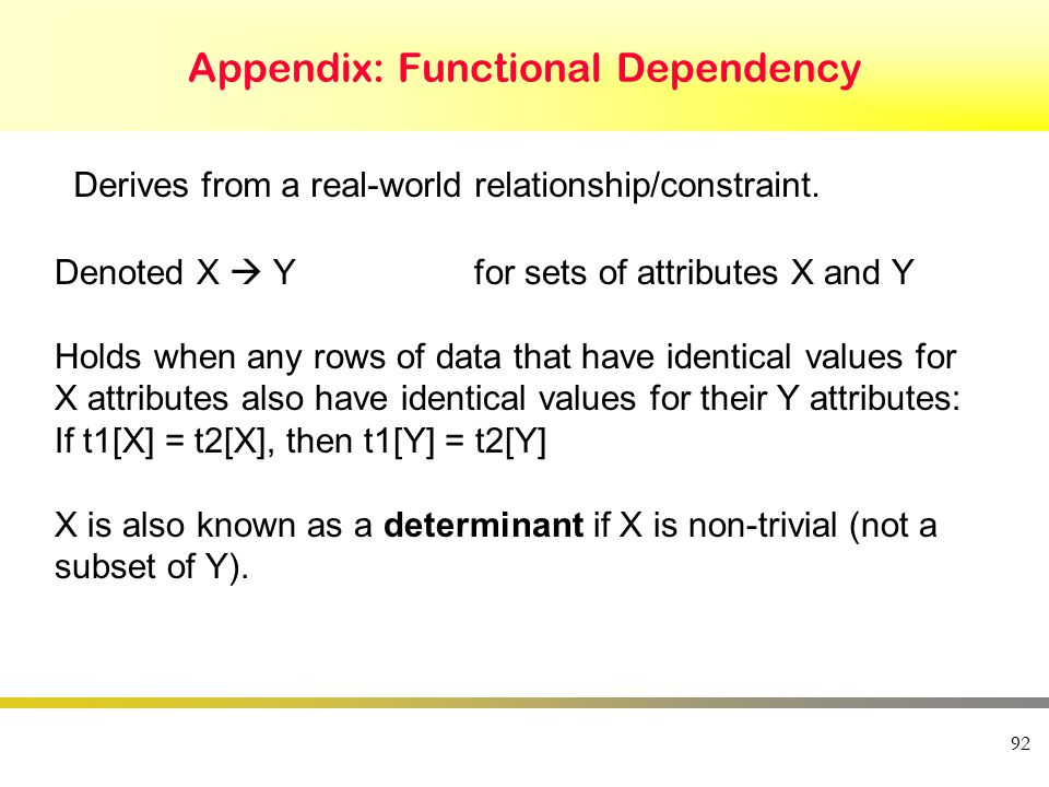 Appendix: Functional Dependency 92 Derives from a real-world relationship/constraint.