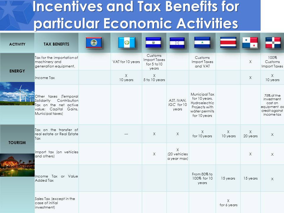 Incentives and Tax Benefits for particular Economic Activities ACTIVITY TAX BENEFITS ENERGY Tax for the importation of machinery and generation equipment.