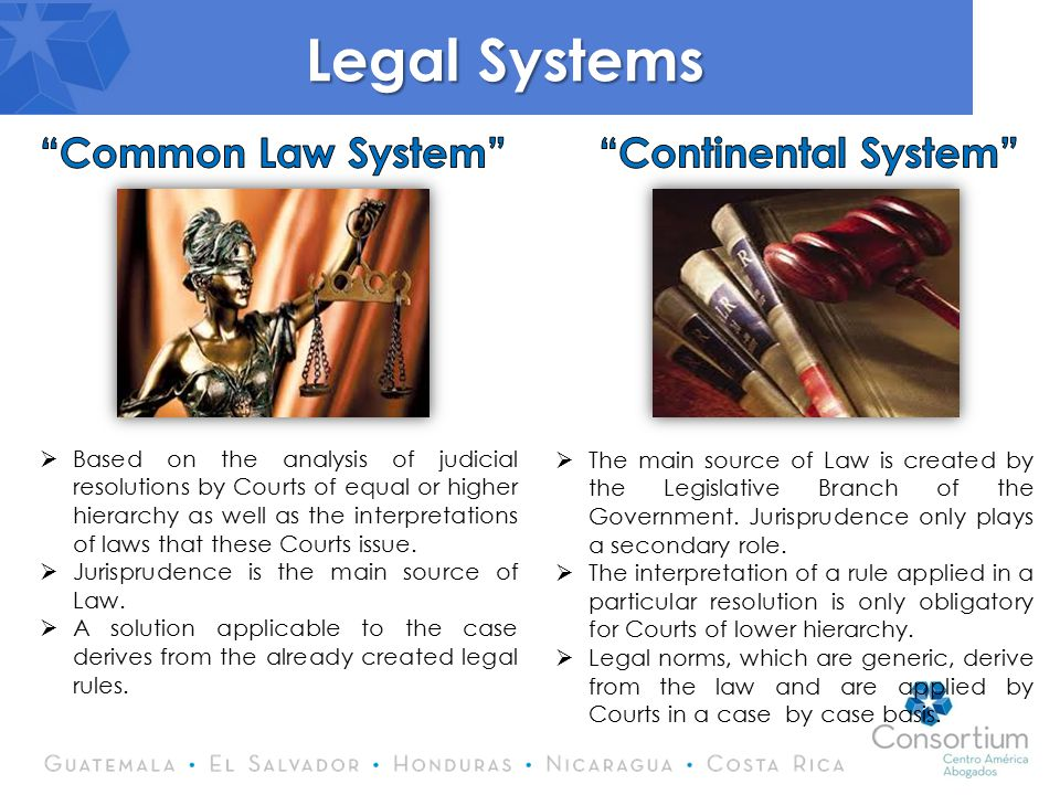 Legal Systems  Based on the analysis of judicial resolutions by Courts of equal or higher hierarchy as well as the interpretations of laws that these Courts issue.