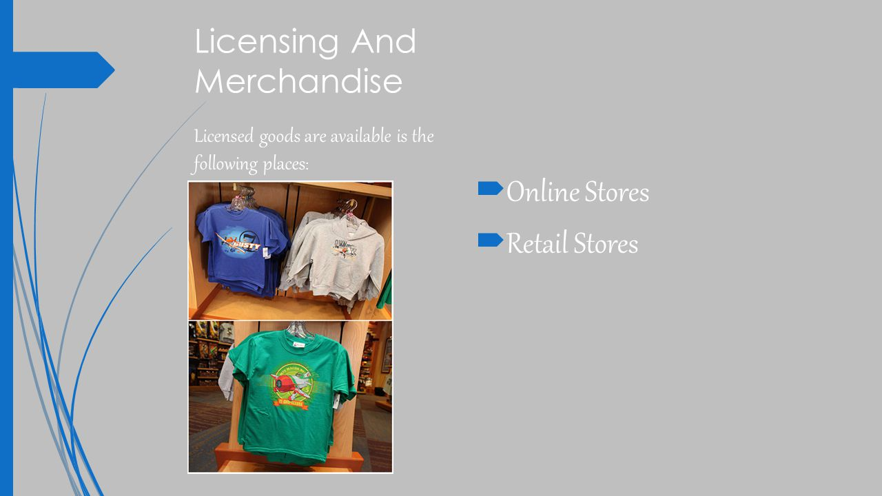 Licensing And Merchandise  Online Stores  Retail Stores Licensed goods are available is the following places :