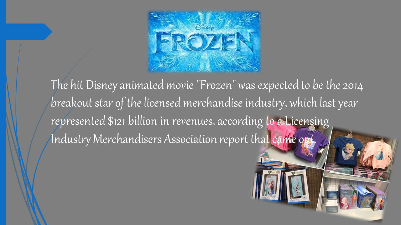  Licensed merchandise is available through many channels of distribution.