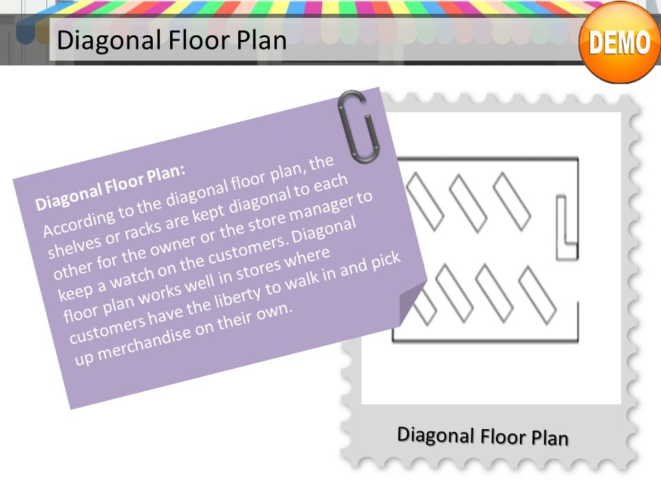 Diagonal Floor Plan Diagonal Floor Plan: According to the diagonal floor plan, the shelves or racks are kept diagonal to each other for the owner or t