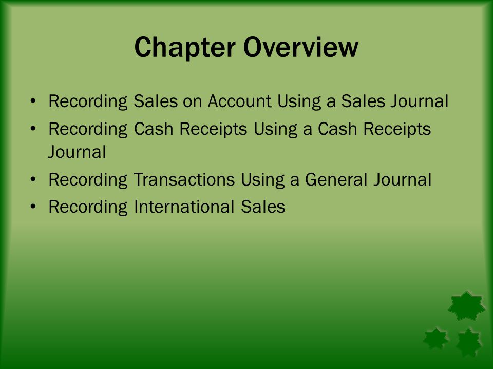 Chapter Overview Recording Sales on Account Using a Sales Journal Recording Cash Receipts Using a Cash Receipts Journal Recording Transactions Using a General Journal Recording International Sales