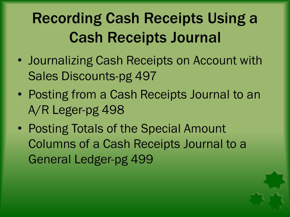 Recording Cash Receipts Using a Cash Receipts Journal Journalizing Cash Receipts on Account with Sales Discounts-pg 497 Posting from a Cash Receipts Journal to an A/R Leger-pg 498 Posting Totals of the Special Amount Columns of a Cash Receipts Journal to a General Ledger-pg 499